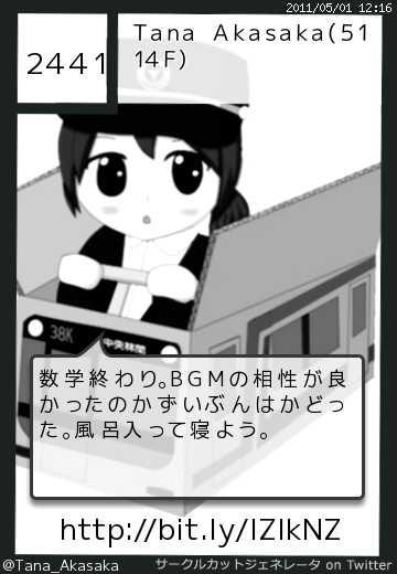 Tana Akasaka(5114F)さん(@Tana_Akasaka)のサークルカット